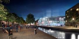 Delft train station night render