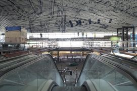 Construction site Delft Station Hall ceiling July