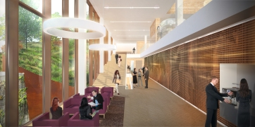 Eurojust interior render of breakout space conference center