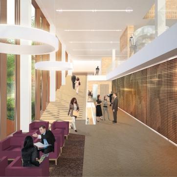 Eurojust interior render of breakout space conference center