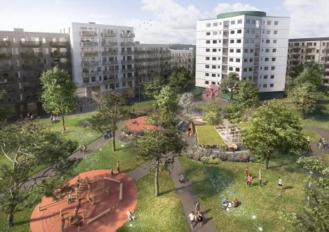 Frölunda Park Phase 3 & 4 Birdseye view Semi-public garden