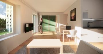 Frölunda Park Phase 3 & 4, Interior studio apartment